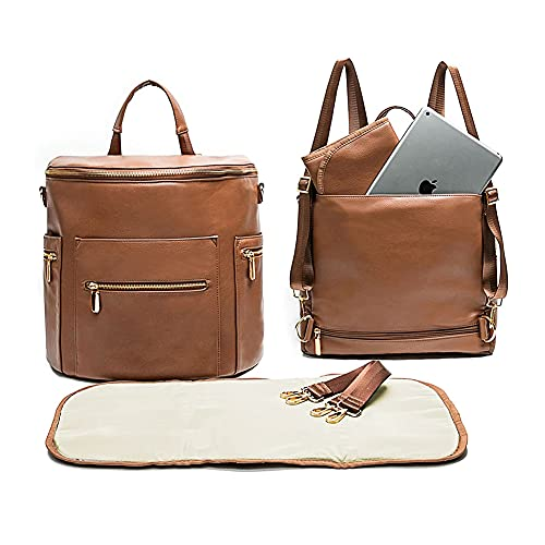 Leather Diaper Bag Backpack by Miss Fong, Baby Registry Search,Backpack Diaper Bag with Changing Pad,Wipes Pouch,Diaper Bag Organizer,Stroller Straps and Insulated Pockets (Brown Convertible)
