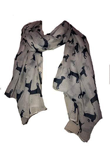 Pamper Yourself Now Schal mit Labrador-Motiv, lang, weich, Marineblau Gr. One size, Weiß / Marineblau