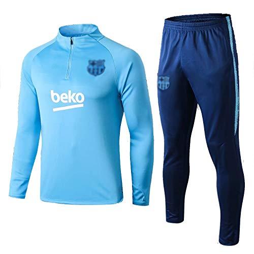 ANLEI Tire Jersey Suit Europa Football Club Training deportes al aire libre de los hombres de la mitad (Tops + Pants) - AG0404 Conjunto Traje Entrenamiento Fútbol (Color : Blue, Size : S)