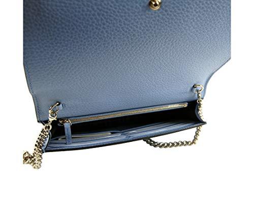 Fashion Shopping Gucci Women's 100 Light Blue Leather Chain Wallet Handbag W/Interlocking G