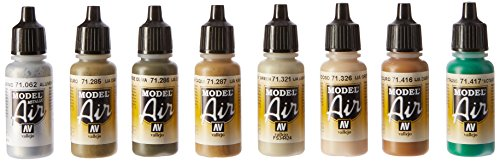 Vallejo Model Air AK InterActive 4BO Russian Green Acrylic Paint set for Air Brush – colori assortiti (confezione da 8)