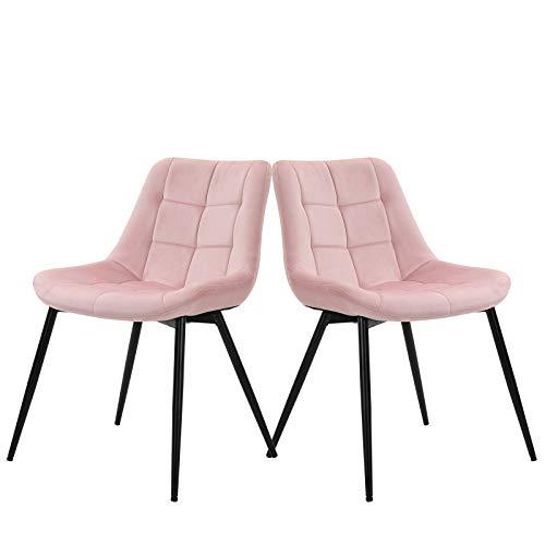 Sigtua, 2 tlg Polsterstuhl umgebener Design-Esszimmerstuhl aus Samt Lehnstuhl edel Pink Sessel Küchenstuhl Wohnzimmerstuhl Schmink Stühle weich Kissen Sitz und Rücken Besucherstühle mit Lehne Rosa