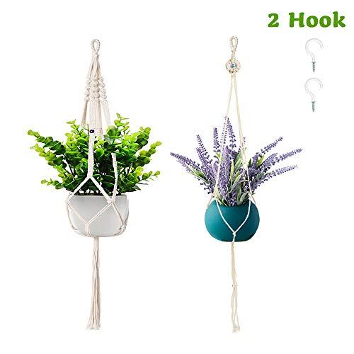 Leuke Lites Plant Hanger Indoor Opknoping Planter Mand Bloem Pot Houder Jute Touw met Kralen 38inch/95cm
