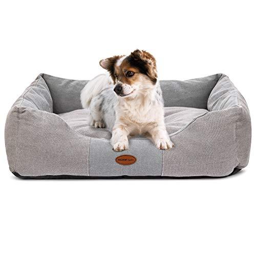 Muawo Premium Hundebett für kleine, Hunde. Geschenke für Hundebesitzer, Hundeliebhaber und Hundehalter. Rutschfestes Hundekörbchen, robust und gemütlich (S 60 x 45 x 18, Grau)