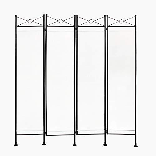 Todeco - Paravent, Raumteiler - Panel : 100% Polyester - Anzahl der Platten: 4 - 180 x 160 cm, Weiß
