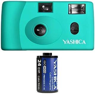 Yashica MF 1 türkis Snapshot 35 mm Kleinbild Kamera Set (mit eingelegtem Film + Batterie)