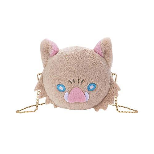 Kimetsu no Yaiba Anime bolsa de hombro de felpa paquete de cadena Hashibira Inosuke encantador paquete escolar japonés fiesta de Halloween marrón