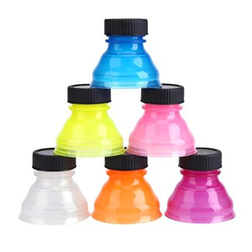 Isuper 6pcs Botella de la Bebida Sellado de Tapas a Prueba de Polvo Reutilizable con Cierre a presión se Puede convertir Pop Soda Savers Tapones de Botellas de Coca-Cola(Mezclado)
