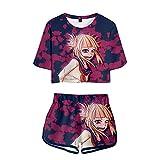 YZJYB My Hero Academia Mujer Traje Deportivo Anime Camiseta Comics Himiko Toga 3D Divertidas Impresa T-Shirt Crop Tops Camiseta Y Pantalones Cortos Verano 2 Piezas Set,Multi Colored,M