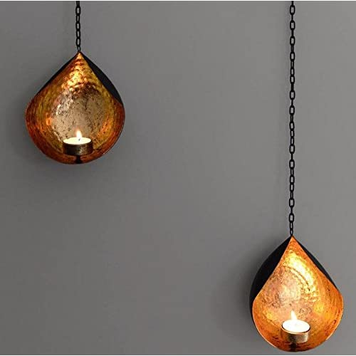 Collectible India Set Of 2 Metal Wall Sconces Tealight Candle Holders Wall Hanging Gift Candle Lamp Tea Light Holder | Candles Decorations Diwali Gifts Lights Home Decor