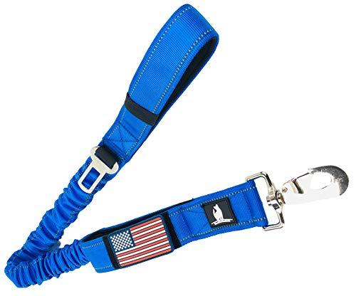 Taktische Bungee K9 Hundeleine – 3,8 cm breite Hundeleine für XL-Hunde, strapazierfähig, Nylon, elastisch, stoßdämpfend, militärische Hunde, Trainingsleine mit abnehmbarer amerikanischer Flagge, Blau