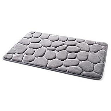 XHSP 3D Cobblestone Memory Foam Door Entrance Mats Living Room Bedroom Kitchen Bathroom Non-slip Area Rugs Doormats,40x60cm/16 x24  Grey