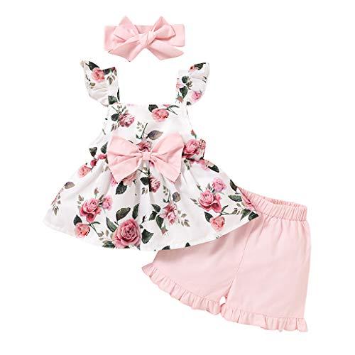 sunnymi Bekleidungssets für Baby Mädchen,0-3 Jahre Kleinkind Baby Mädchen Flare Sleeve Plaid Print Tops + Solid Shorts Outfits Set