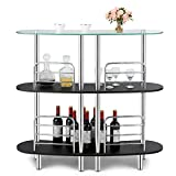 COSTWAY 3-Tier Glass Liquor Bar Cabinets, Wine Bar Storage with Tempered Glass Counter Top...