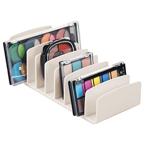 mDesign Bandeja de maquillaje con 9 compartimentos – Organizador de cosméticos vertical...