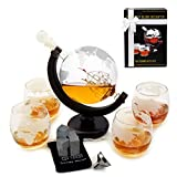 Whiskey Decanter Set - Globe Glasses - Housewarming Gifts -Scotch Gift Set - Globe Decanter for...