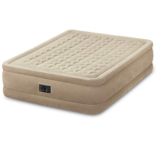 Intex Queen Ultra Plush Fiber-Tech Airbed Air Mattress Bed with Built-In Pump