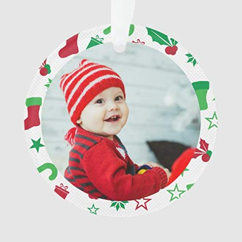 onepicebest Christmas Ornaments,Round Custom Photo Frame Baby's First Christmas Holiday Ornament Xmas Gifts Presents, Holiday Tree Decoration Stocking Stuffer Gift
