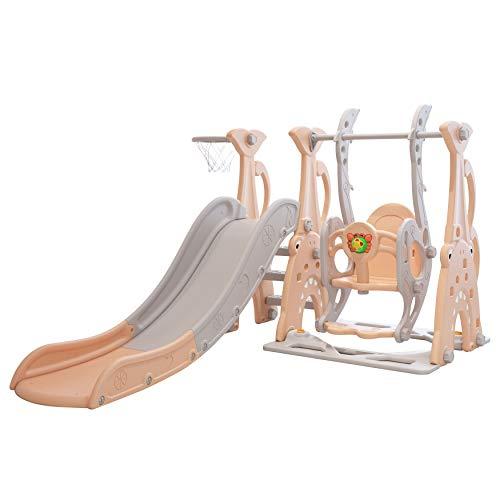 Clarmaro 'Crazy Zoo' 3in1 Kinder Spielplatz mit 165 cm Rutsche, Schaukel und Basketballkorb | Indoor und Outdoor | Spielturm und Rutsche mit extra Breiten Stufen und Standbeinen | Farbe: Coral