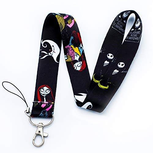 The Nightmare Before Christmas Jack Sally Lanyard Skull Print Key Chain ID Card Badge Holder Halloween Neck Strap (Black)
