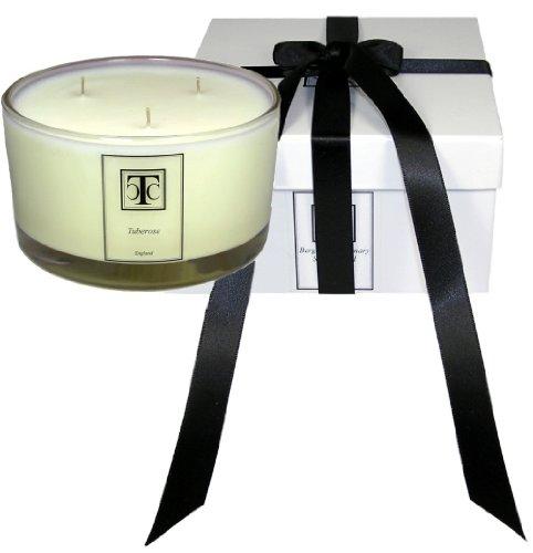 The Candle Company Bougie parfumée Oudh 3 mèches dans un bol en verre 80 heures, Cire, blanc, 12.5 x 12.5 x 7 cm