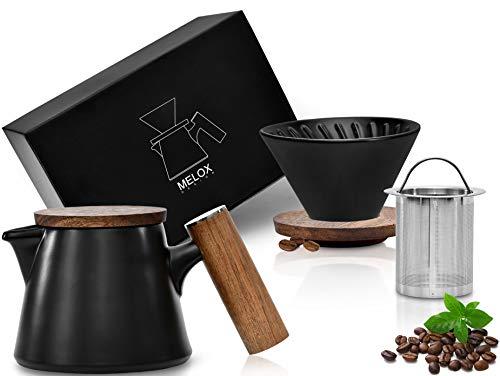 MELOX 2-in-1 Teekanne und Kaffeebereiter | hochwertiges Porzellan in schwarz | 600ml | inkl. Deckel und Edelstahlsieb