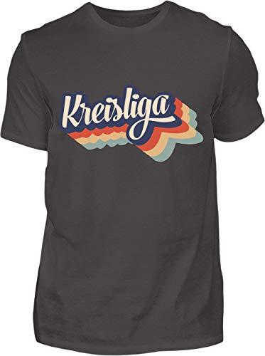 Kreisligahelden Kreisliga Schriftzug II - Kurzarm Shirt Baumwolle mit Motiv Aufdruck - Das Kreisliga Shirt für alle Kreisliga Fußballer und Fans (S, Anthrazit)