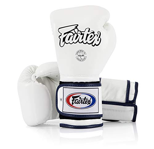 Fairtex Muay Thai Boxing Gloves BGV9 - Heavy Hitter Mexican Style - Minor Change Solid Black 12 14 16 oz. Training & Sparring Gloves for Kick Boxing MMA K1 (14 oz, White/Blue Piping)