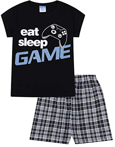 """ThePyjamaFactory Schlafanzug Jungen, mit Schriftzug """"Eat Sleep Game Repeat"""", kurzer Schlafanzug, schwarz Gr. 13 Jahre, schwarz"""
