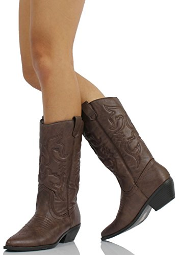 Soda Womens Reno-S Leatherette Two Tone Embroidered Pointy Toe Cowboy Western Boot,Dark Tan,10