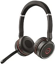 Jabra Evolve 75 UC Stereo Wireless Bluetooth Headset / Music Headphones Including Link 370 (U.S. Retail Packaging), Black