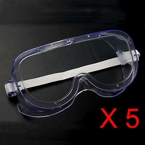 5er Pack Schutzbrille Einstellbar Arbeitsschutzbrillen Medizinische Transparent Anti beschlag Anti staub Spritzwassergeschützte Gegen viren Kratzfest - für Chemie labor Arbeitsplätze - Augen schütze