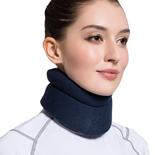 VELPEAU Neck Brace Foam Cervical Collar Soft Neck Support Relieves Pain Pressure in Spine Wraps Aligns Stabilizes Vertebrae Can Be Used During Sleep Comfort Blue Medium 3