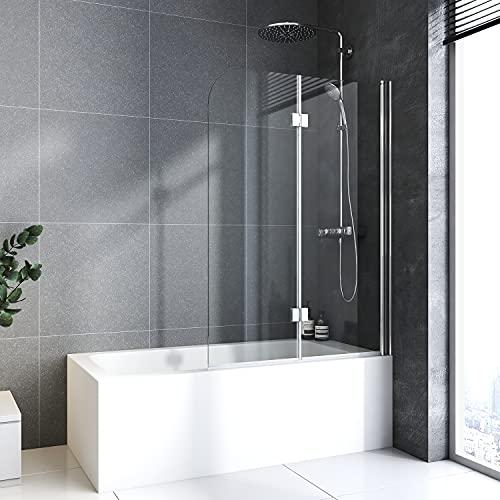 Baode Duschtrennwand für Badewanne, Flügel-Falttür Breite 110 cm, 6mm ESG NANO Glas. Höhe 140cm Badewannenaufsatz