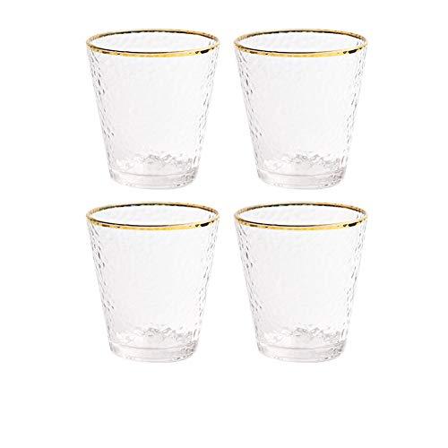 Juego de 4 vasos de cristal de 300 ml para agua y zumo de leche, vasos de agua de cristal con borde dorado para restaurante fiesta bar (pared de la taza de lágrima)