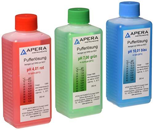 Apera Instruments pH Kalibrierlösung 4.01/7.00/10.01 je 250ml, Pufferlösung Set