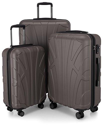 Suitline 3er Koffer-Set Trolley-Set Rollkoffer Hartschalen-Koffer Reisekoffer, TSA, (55 cm, 66 cm, 76 cm), 100% ABS, Matt, Titan