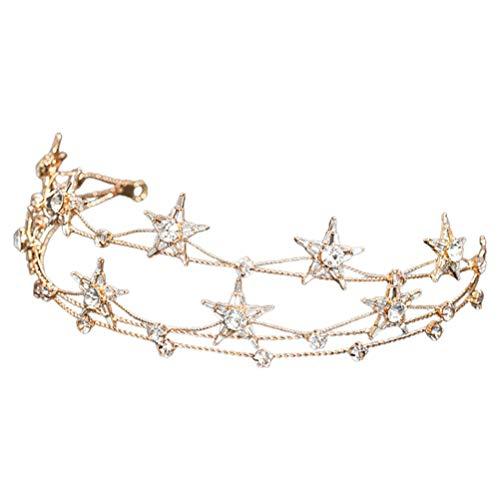 SOLUSTRE Strass Stirnband Kristall Haarbänder Schmuck Hochzeit Braut Stirnbänder Metall Stirnbänder Kopfschmuck für Mädchen Frauen Jugendliche