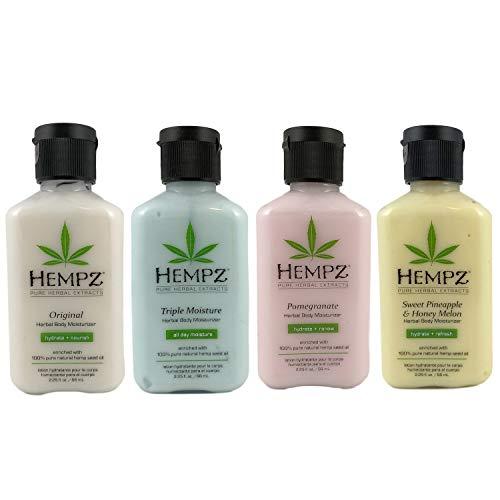 Hempz Body Moisturizer Sampler Bundle of 4 – Original, Triple Moisturizer, Pomegranate and Sweet Pinneaple Melon, 2.25…