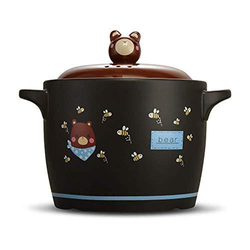 WANGIRL Ceramic Casserole, Cartoon Stew Pot, Round Frying Pan, Heat Resistant Clay Pot, Korean Ceramic Stone Bowl with Black Lid 3quart (2.8L) LOLDF1 (Color : Black, Size : 3Quart(2.8L))