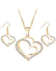 Fashion jewelry golden heart crystal necklace with earrings sets for women. Gold