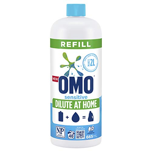 Omo Laundry Liquid Dilute at Home Refill, Concentrate Formulation, Sensitive, 100% Recyclable 665mL (40 Washes)