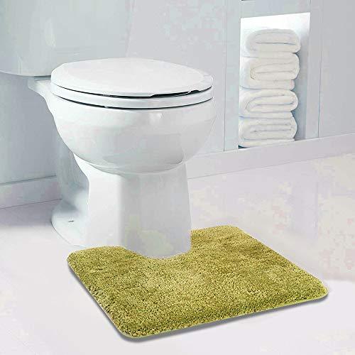 Walensee Bathroom Contour Rug (20x24, Olive Green) Non Slip Bath Mat for Bathroom Water Absorbent Soft Microfiber Shaggy Bathroom Mat Machine Washable Bath Rug for Bathroom U Shape Toilet Rug