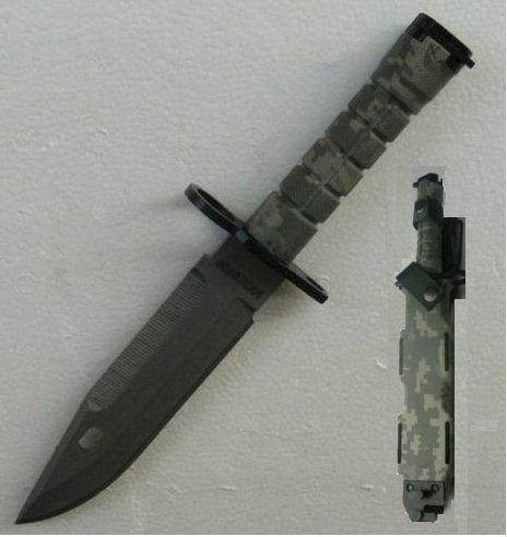 Ultimate Arms Gear Tactical Limited Edition ACU Army Digital Camo Camouflage Stainless Steel M9 M-9 Military Survival Blade Bayonet Knife With Tactical Sheath Scabbard