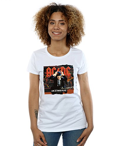 AC/DC Mujer Live At River Plate Columbia Records Camiseta Large Blanco