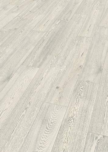 Egger Comfortboden EHC005 Summersville Eiche Weiss (8mm, 1,995m²) | Natürlich & nachhaltig | Kork Laminat mit Trittschalldämmung | Einfache Verlegung durch CLIC It Klicksystem | Warm & leise