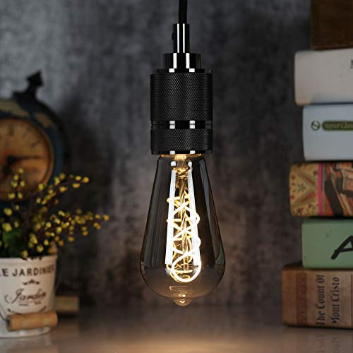 TIANFAN LED-Lampen Vintage Glühbirne 4W Dimmbares Rauchglas 2700K Warmweiße Edison-Schraube E27 Sockel 220 / 240V Dekorative Lampen ST64