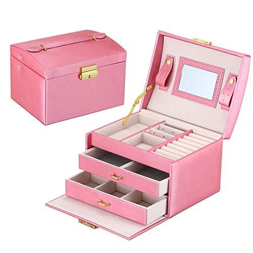 YMG Femmes Bijoux Rangement Organisateur Boîte Voyage Maquillage Cosmétique Étui Et Miroir en Cuir Mariage Décoration Cadeau,Rose