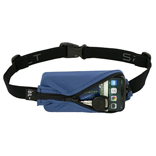 SPIbelt Running Belt Original Pocket, No-Bounce Waist Bag for Runners Athletes Men and Women fits iPhone and Android Phones (Blue with Black Zipper, One Size)