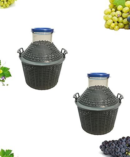 Buyglass 2 Damigiana Litri 10 Bocca Larga Completa di Tappo